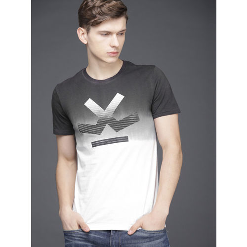 WROGN Men Charcoal Grey & White Dyed Slim Fit Round Neck T-shirt