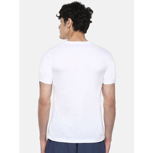 ADIDAS Men White D2M Cool Logo Printed Detail T-shirt