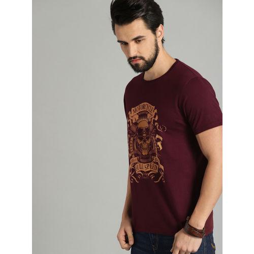 Roadster Men Maroon Printed Round Neck T-shirt