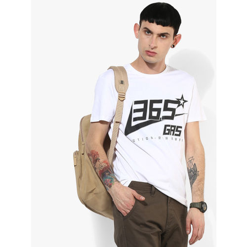 GAS White Graphic Slim Fit Round Neck T-Shirt