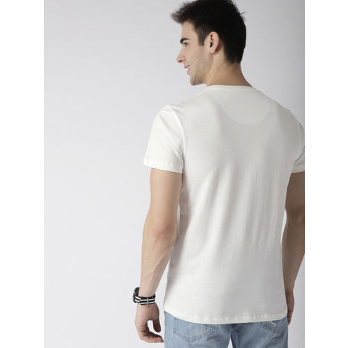 Mast & Harbour Men Off-White Printed Round Neck T-shirt