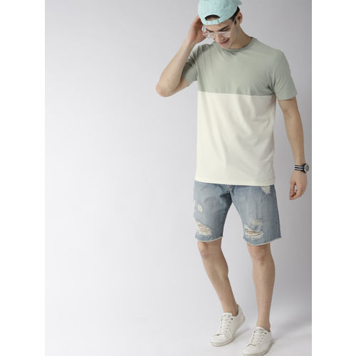 Mast & Harbour Men Off-White & Green Colourblocked Round Neck T-shirt