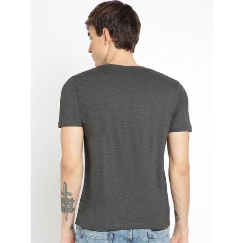 Crocodile Men Grey Printed Round Neck T-shirt