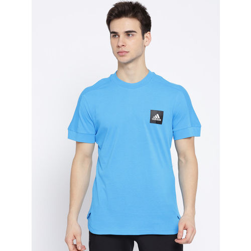 ADIDAS Men Blue ID FAT3S Solid Round Neck T-shirt