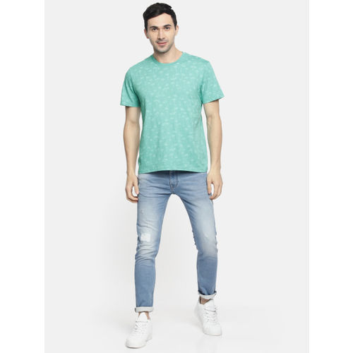 AMERICAN EAGLE OUTFITTERS Men Sea Green Printed Round Neck T-shirt
