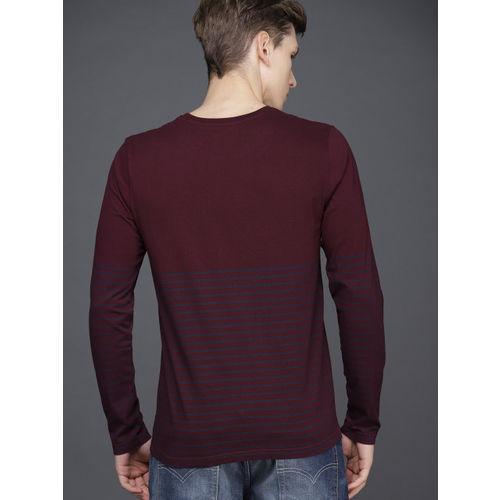 WROGN Men Maroon & Navy Striped Slim Fit Round Neck T-shirt