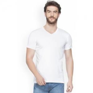JORKK White Cotton Solid V Neck T-Shirt