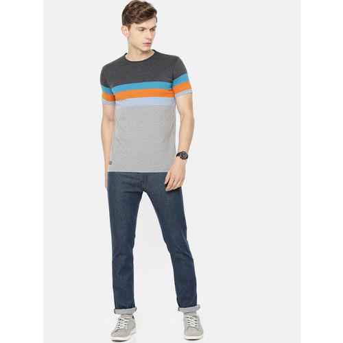 Pepe Jeans Men Grey & Blue Striped Round Neck T-shirt