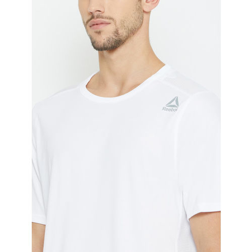 Reebok Men White US Workout Tech Solid Round Neck Training T-shirt