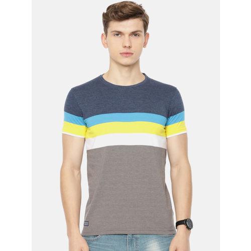 Pepe Jeans Men Navy Blue & Grey Striped Round Neck T-shirt