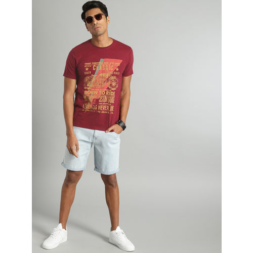 Roadster Men Red Printed Round Neck T-shirt