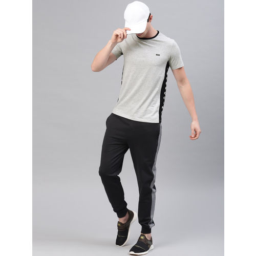 HRX by Hrithik Roshan Men Grey Melange Solid Lifestyle Crew Neck T-shirt