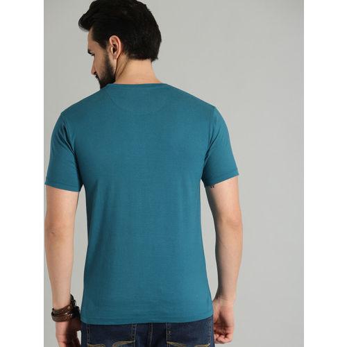 Roadster Men Teal Blue Printed Round Neck T-shirt