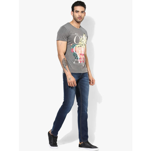 Jack & Jones Grey Printed Slim Fit Round Neck T-Shirt