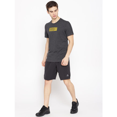 Reebok Men Black Solid OST Knit Woven Training Shorts