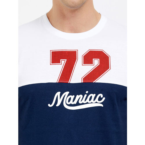 Maniac Men White & Navy Blue Colourblocked Round Neck T-shirt
