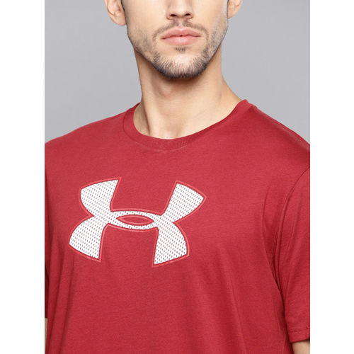 UNDER ARMOUR Men Red Big Logo SS Printed Longline T-shirt