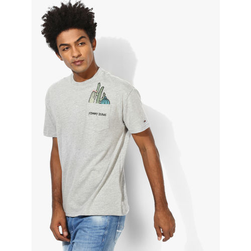 Tommy Hilfiger Grey Printed Regular Fit Round Neck T-Shirt