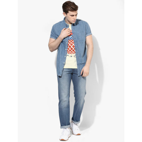 Jack & Jones Yellow Printed Slim Fit Round Neck T-Shirt