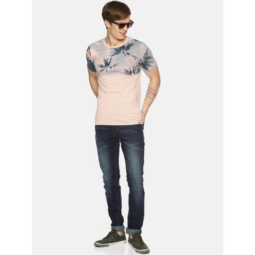 IMPACKT Men Peach-Coloured Printed Round Neck Slim Fit T-shirt