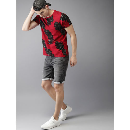 Moda Rapido Men Maroon & Black Printed Round Neck T-shirt