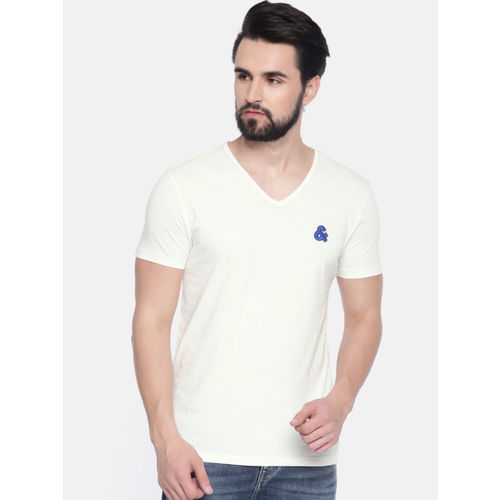 Jack & Jones Men Off-White Solid V-Neck T-shirt