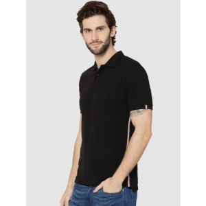 Jack & Jones Men Black Solid Polo Collar T-shirt