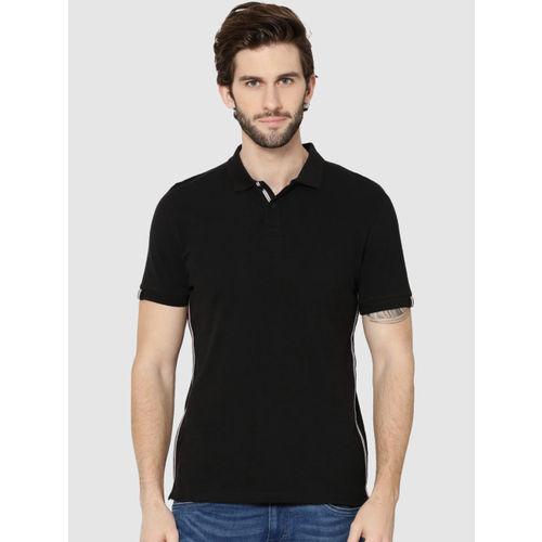 Jack & Jones Men Black Solid Polo Collar T-shirt