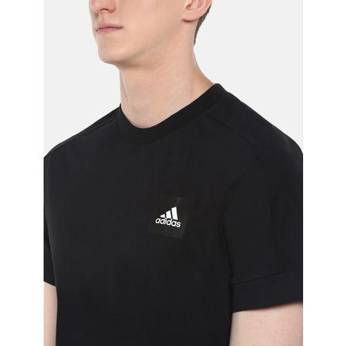 ADIDAS Men Black Printed Back ID 3-Stripes T-shirt