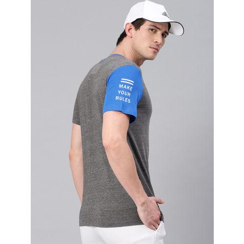 HRX by Hrithik Roshan Men Grey Regular Fit Solid Round Neck Short Sleeve Lifestyle Tshirt