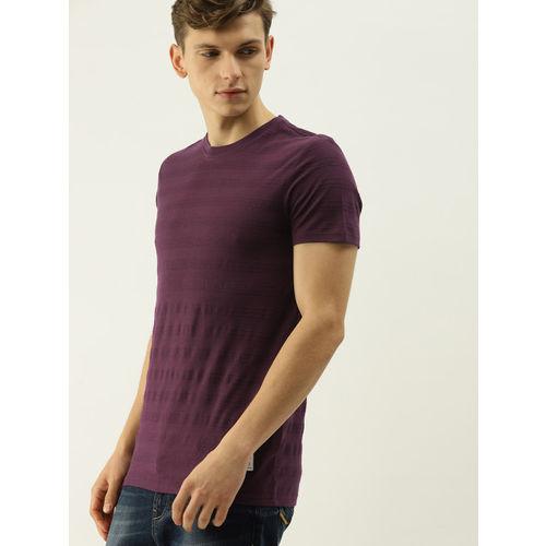 United Colors of Benetton Men Burgundy Striped Henley Neck T-shirt