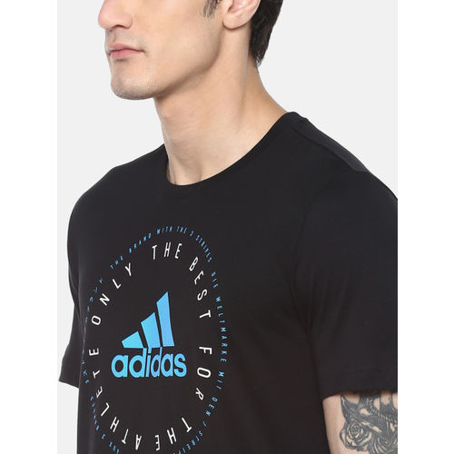 ADIDAS Men Black Printed MH Emblem T-shirt