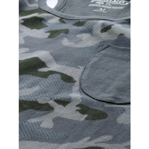 Roadster Men Grey & Olive Green Printed Round Neck T-shirt