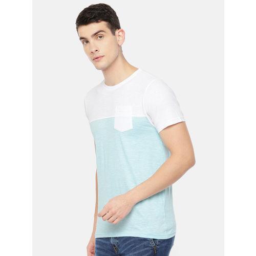 Pepe Jeans Men Blue & White Colourblocked Round Neck T-shirt