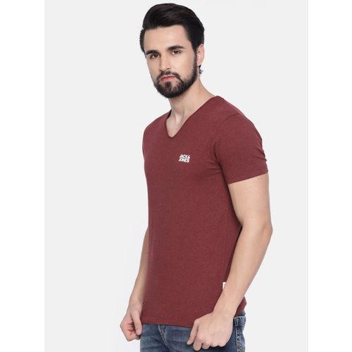 Jack & Jones Men Red Solid V-Neck T-shirt