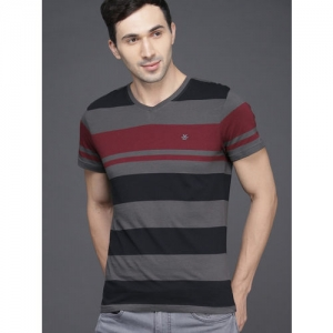 WROGN Men Grey & Maroon Slim Fit Striped V-Neck T-shirt