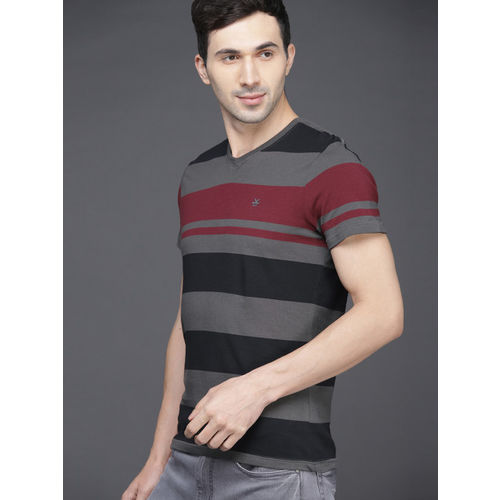 WROGN Men Grey & Maroon Slim Fit Striped V-Neck T-shirt