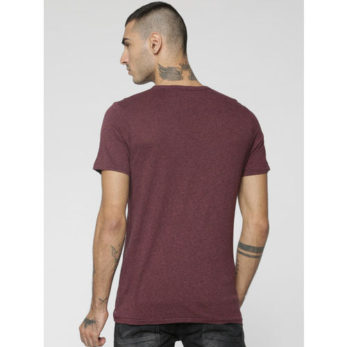Jack & Jones Men Burgundy Printed Round Neck T-shirt