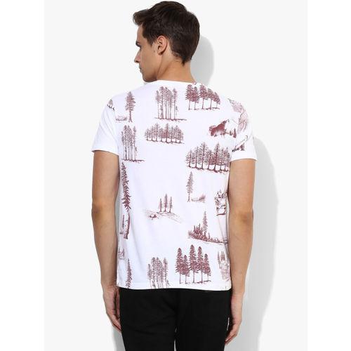 Jack & Jones White Printed Slim Fit Round Neck T-Shirt