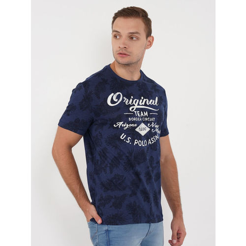 U.S. Polo Assn. Denim Co. Men Navy Blue Printed Round Neck T-shirt