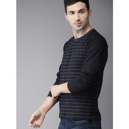 HERE&NOW Men Black & Blue Striped Round Neck T-Shirt
