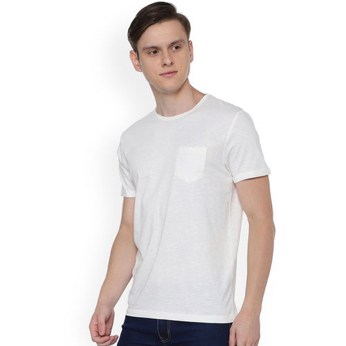 People Men White Solid Round Neck T-shirt