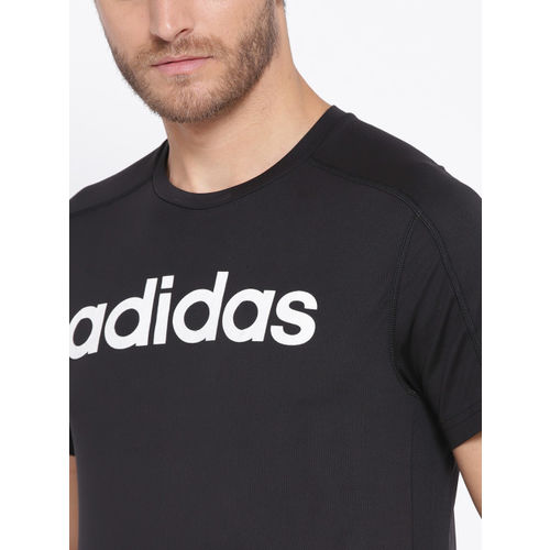 ADIDAS Men Black D2M Cool Logo Printed Detail T-shirt