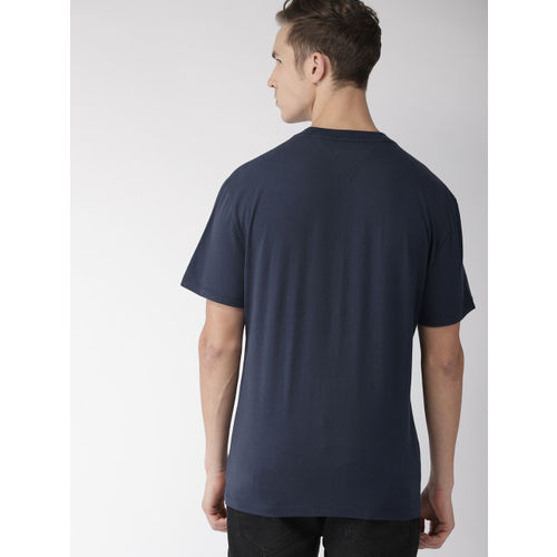 Tommy Hilfiger Men Navy Blue Printed Round Neck T-shirt