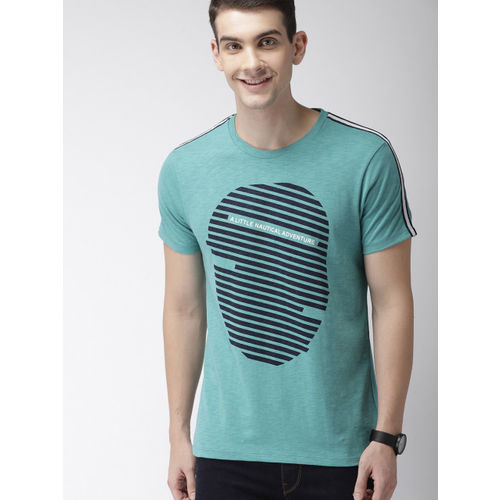 Mast & Harbour Men Teal Green Printed Round Neck T-shirt