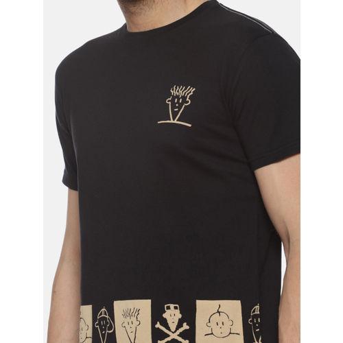 FIDO DIDO Men Black Printed Round Neck T-shirt