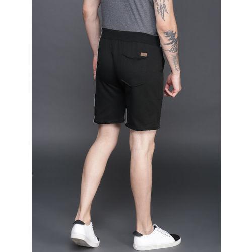 WROGN Men Black Solid Regular Fit Regular Shorts