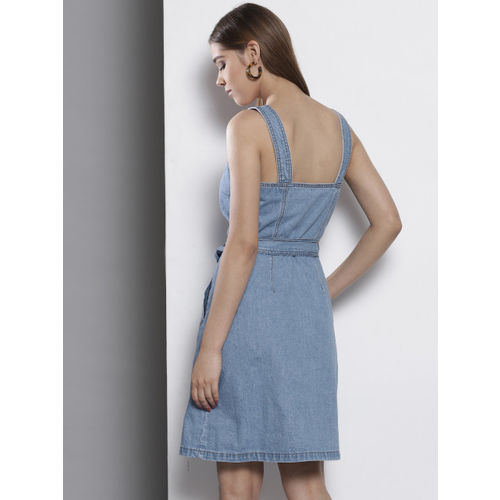 DOROTHY PERKINS Women Blue Solid Denim Pinafore Dress