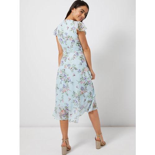 DOROTHY PERKINS Women Blue Printed Wrap Dress