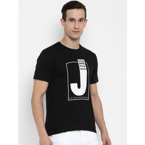 Joven Men Black Printed Round Neck T-shirt